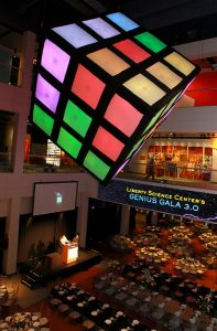 Rubik's Cube floated above the ballroom Liberty Science Center 1