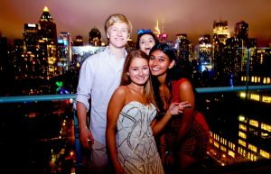 Friends and NYC lights Press lounge NYC